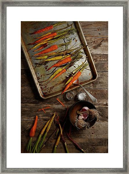 Roasted Carrots And Garlic Framed Print
