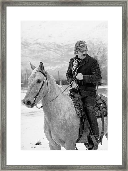 Robert Redford On A Horse Framed Print by John Dominis