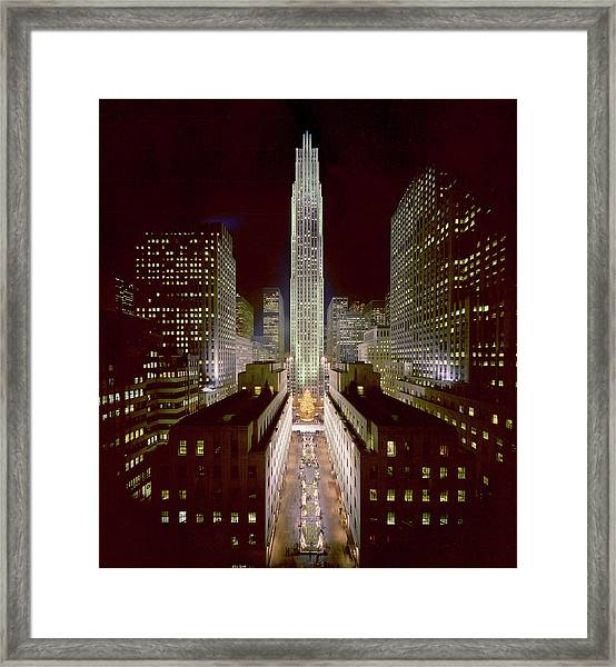Rockefeller Center, Manhatten, At Framed Print