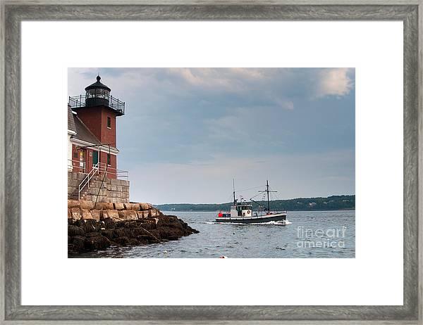 Rockland Breakwater Lighthouse Guards Framed Print