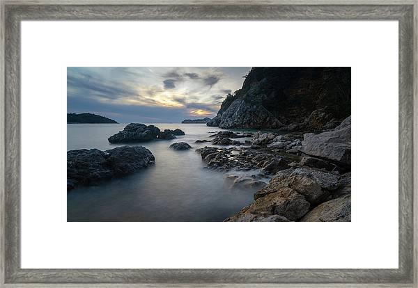 Framed Print featuring the photograph Rocky Coast Near Dubrovnik by Milan Ljubisavljevic
