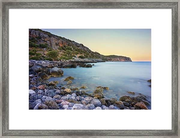 Framed Print featuring the photograph Rocky Coast Near Monemvasia by Milan Ljubisavljevic