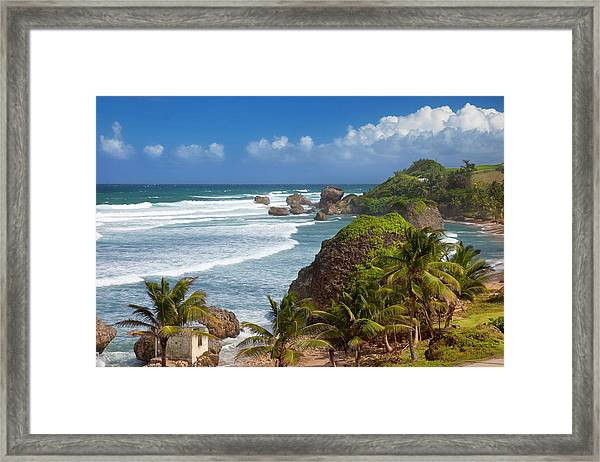 Rocky Coastline Along Eastern Shore Of Framed Print