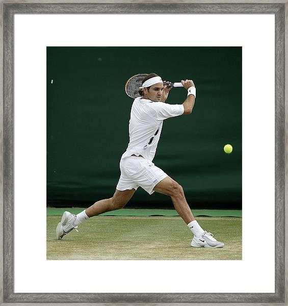 Roger Federer Of Switzerland In Action Framed Print