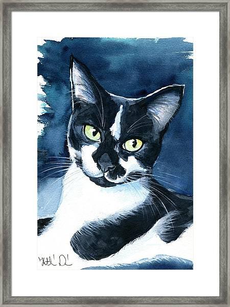 Rollie Tuxedo Cat Painting Framed Print