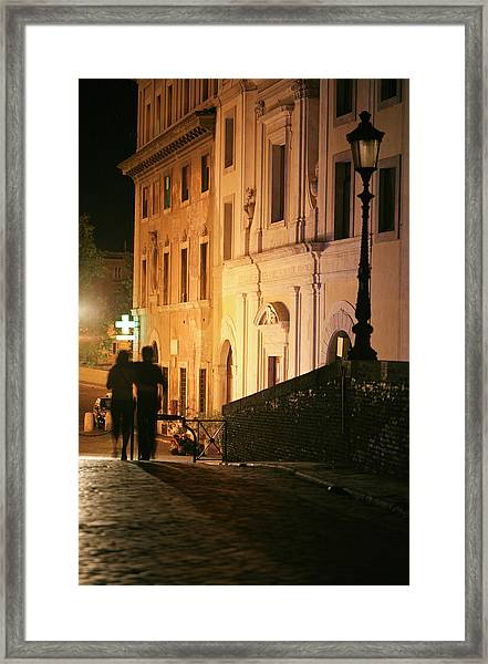 Romantic Rome, Latenight Couple In Framed Print