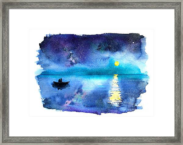 Romantic Starry Night Lake View With Framed Print