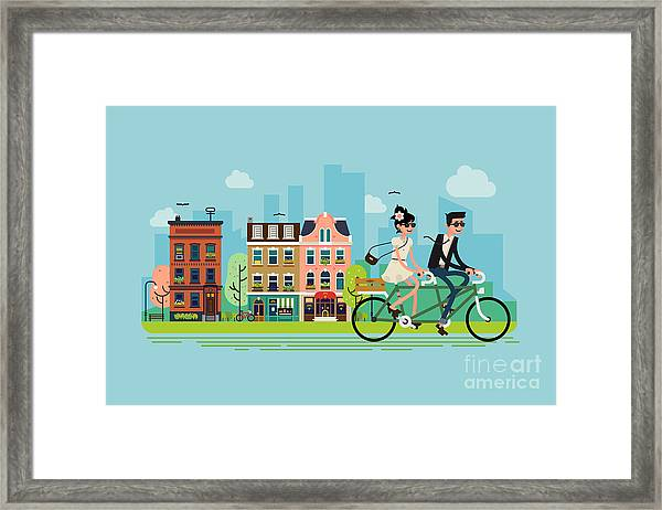Romantic Vector Concept Illustration On Framed Print by Mascha Tace