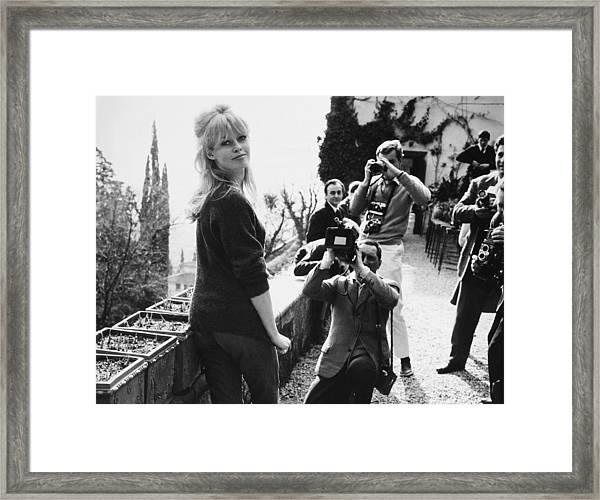 Rome, Brigitte Bardot And Photographers Framed Print