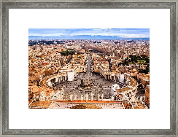 Rome, Italy. Famous Saint Peters Square Framed Print by S-f