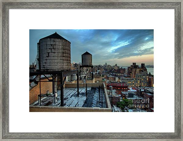 Rooftop Water Towers, New York City, Usa Framed Print
