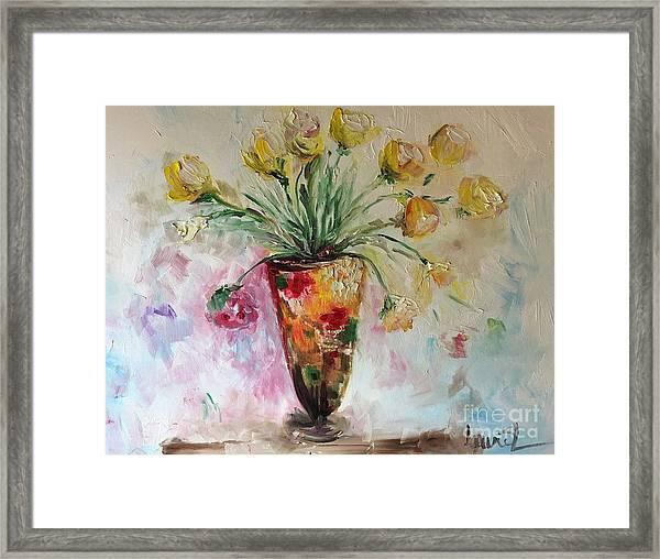 Roses In Vase Framed Print