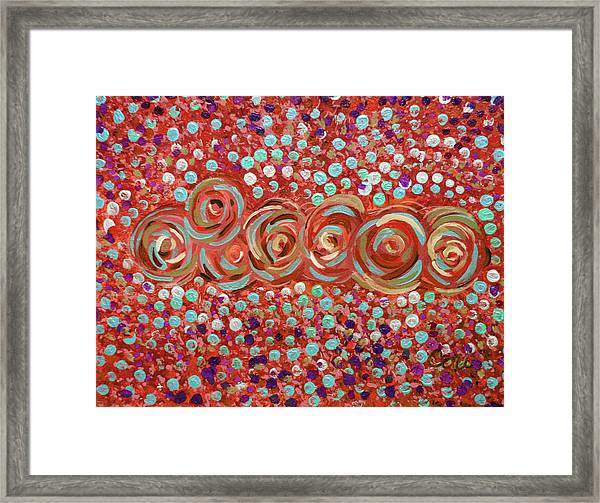 Roses Of Coral And Turquoise Framed Print
