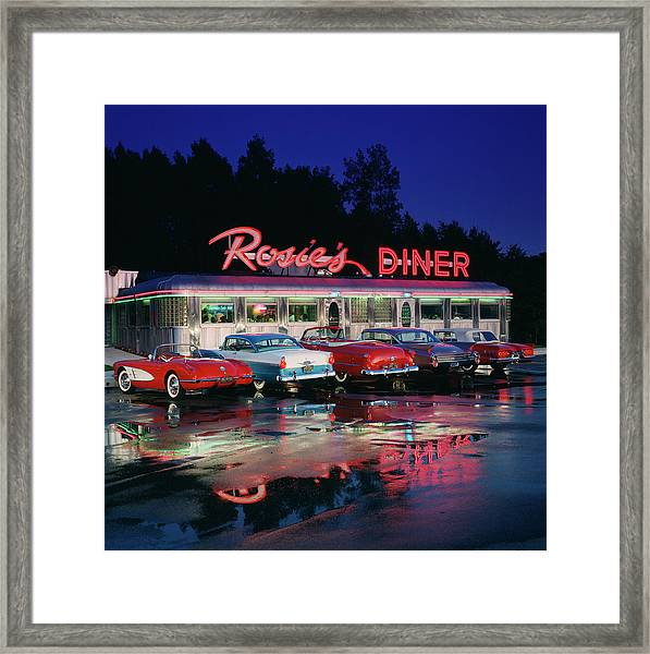 Rosies Diner Framed Print by Car Culture