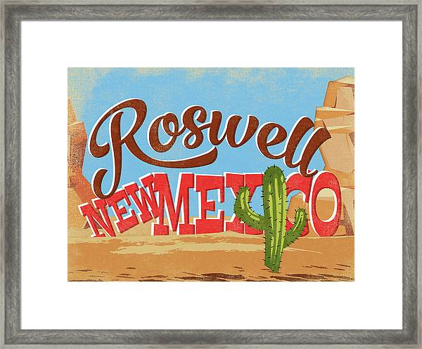 Roswell New Mexico Cartoon Desert Framed Print