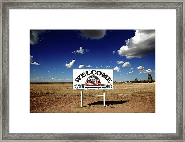 Route 66 - Midpoint Sign 2010 Bw Framed Print