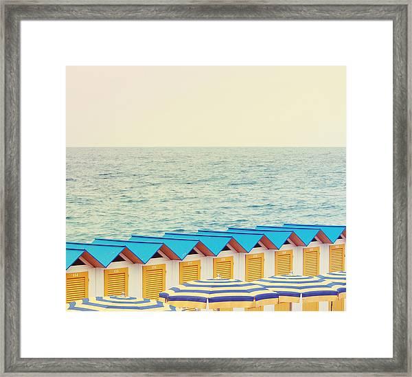 Row Of Beach Hut Framed Print