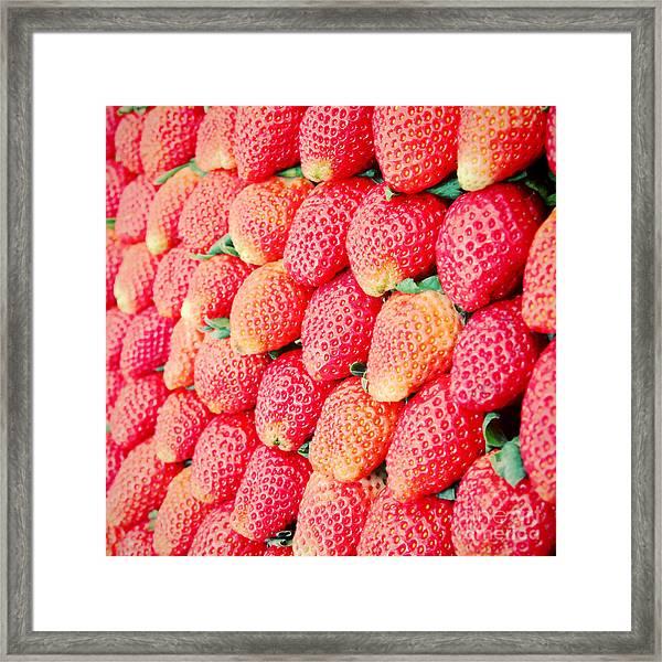 Row Of Fresh Strawberry With Retro Framed Print