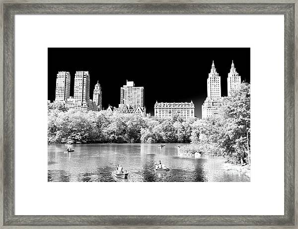 Rowing In Central Park New York City Framed Print