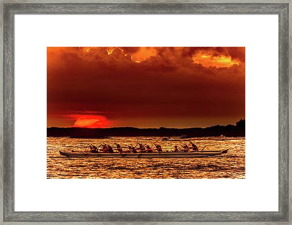 Rowing In The Sunset Framed Print