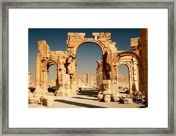Ruins Of Ancient City Of Palmyra In Framed Print