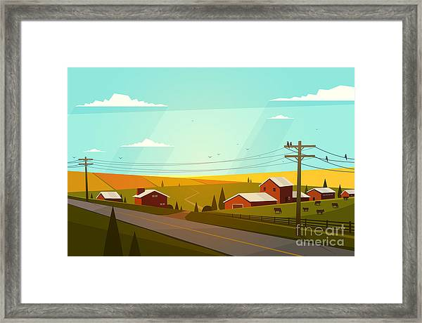 Rural Landscape. Vector Illustration Framed Print by Doremi
