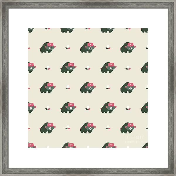 Rusian Bear Seamless Pattern Framed Print