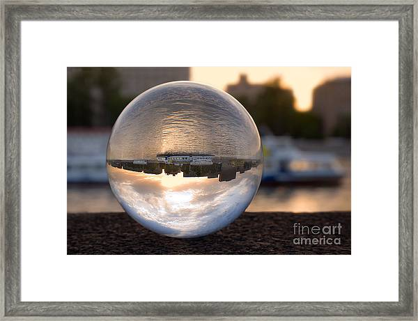 Russia, Moscow River, Sunset. In A Framed Print