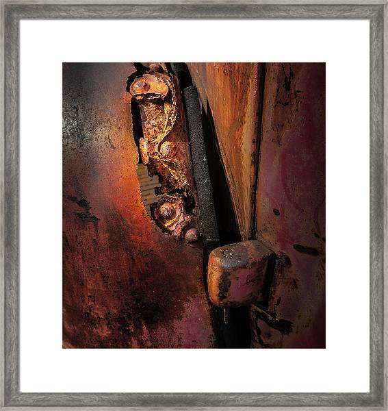 Framed Print featuring the photograph Rusty Hinge by Juan Contreras