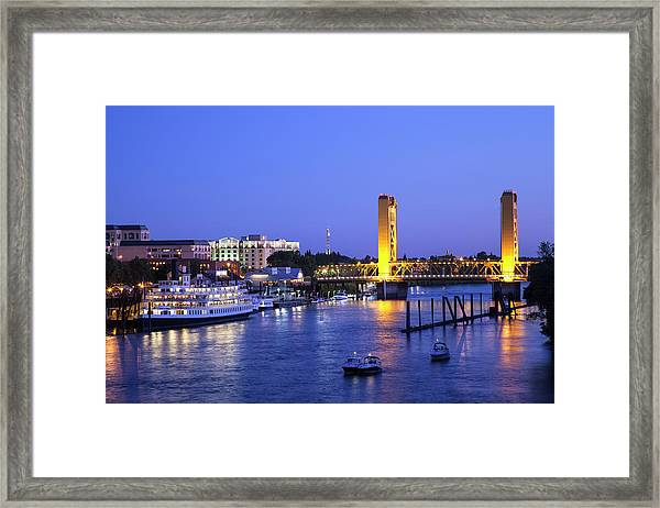 Sacramento River And Tower Bridge At Framed Print