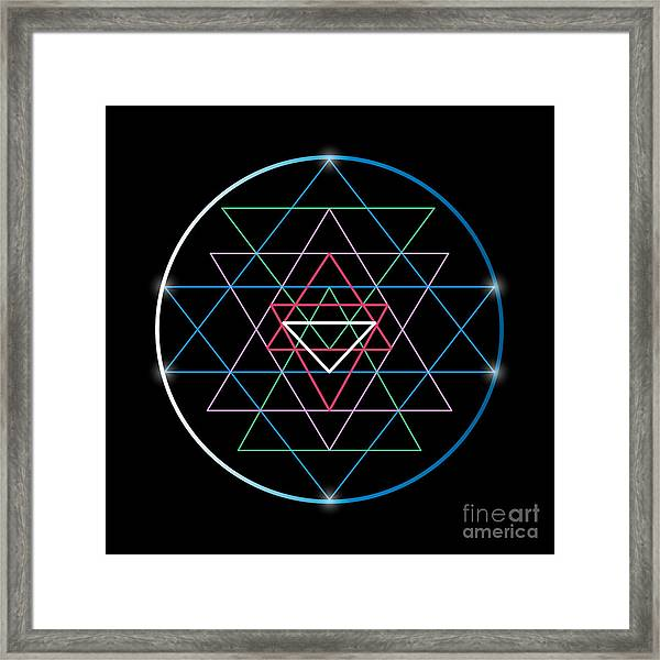 Sacred Geometry And Alchemy Symbol Sri Framed Print by Maddyz
