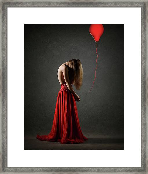 Sad Woman In Red Framed Print