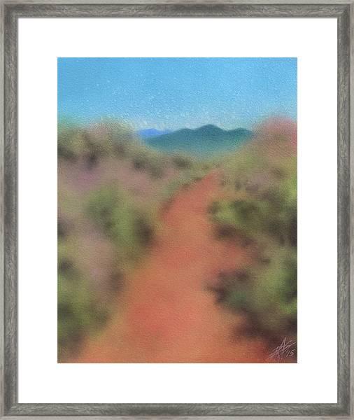 Sagebrush Path To Black Mountain Framed Print by Robin Street-Morris