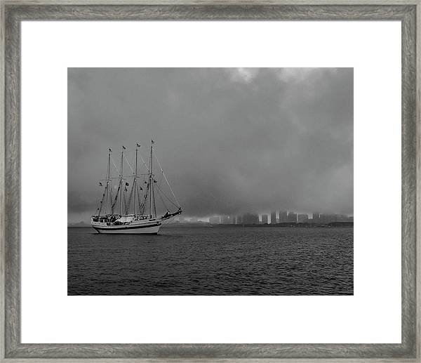 Sail In The Fog Framed Print