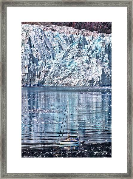 Framed Print featuring the photograph Sailboat And Glacier by David A Lane
