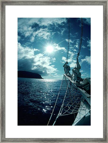Sailboat Approaching Cocos Is, Costa Framed Print