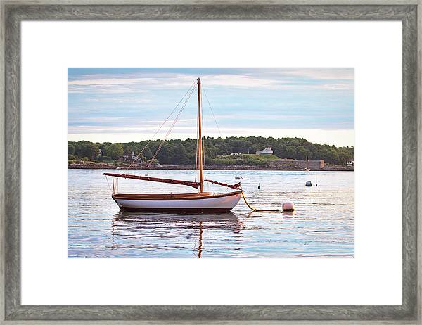 Sailboat At Sunrsie Framed Print by Eric Gendron