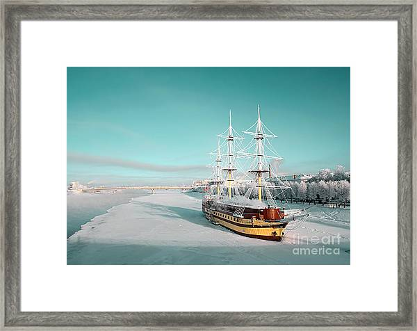 Sailboat On Pier Framed Print