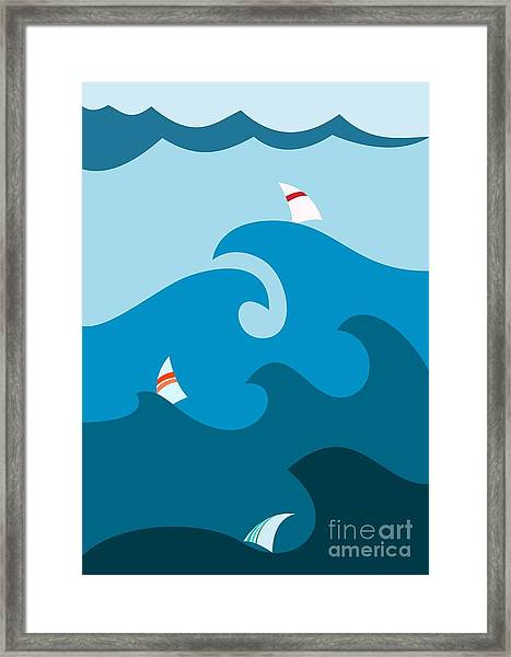 Sailboat On Stormy Seas Framed Print