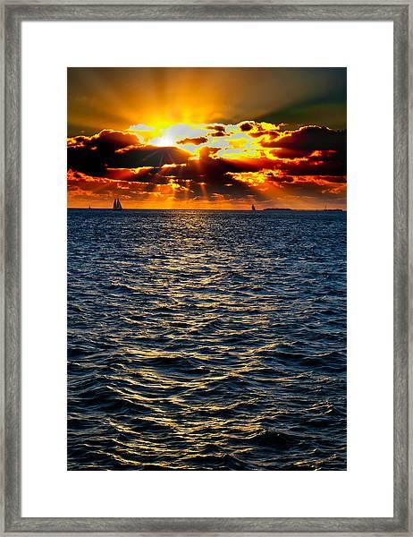 Sailboat Sunburst Framed Print