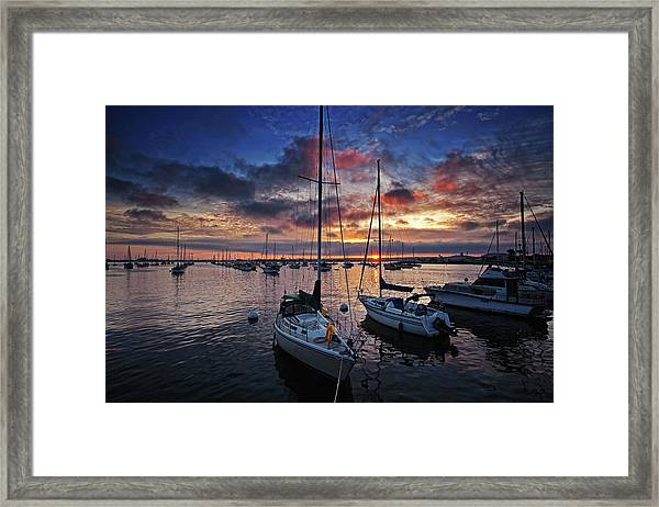 Sailboats At Sunset - San Diego Harbor Framed Print