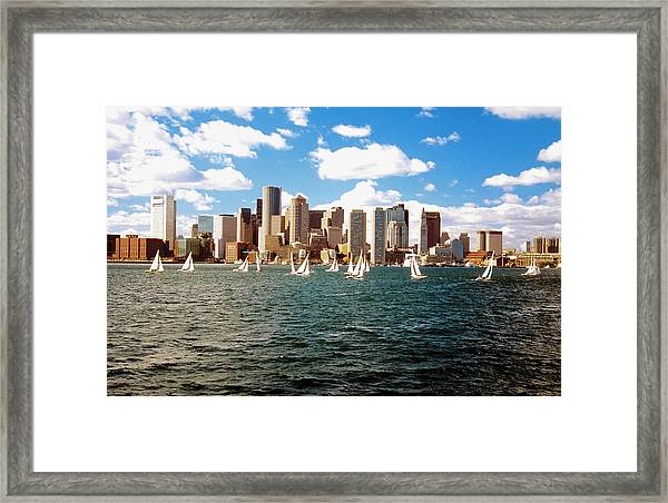 Sailboats In Boston Harbor In Front Of Framed Print