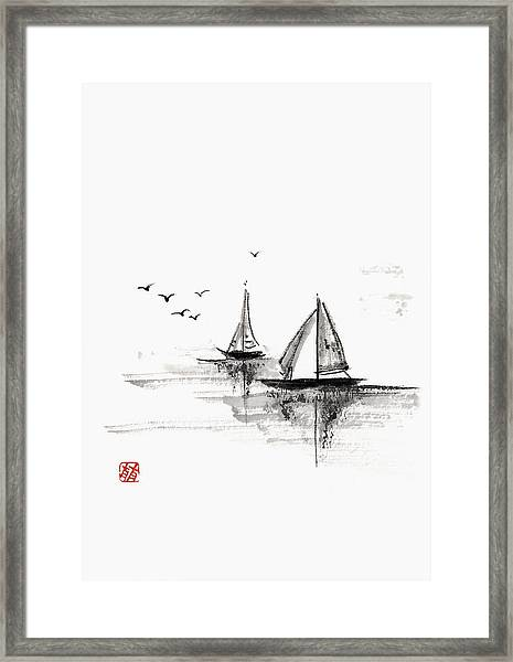 Sailboats On The Water Framed Print