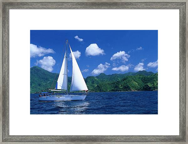Sailing Boat Off Shore Of St. Vincent Framed Print