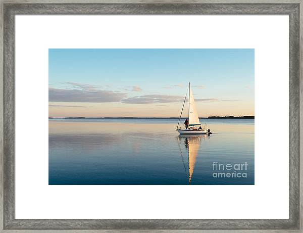 Sailing Boat On A Calm Lake With Framed Print