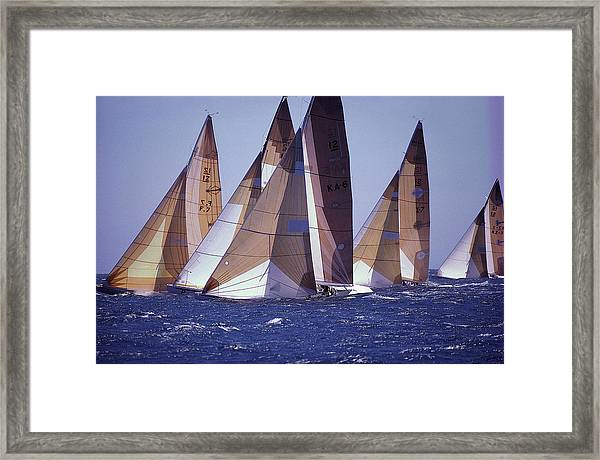 Sailing Boats At A Regatta, Perth Framed Print