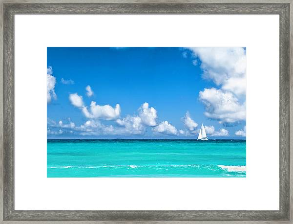 Sailing In The Caribbean Sea Framed Print