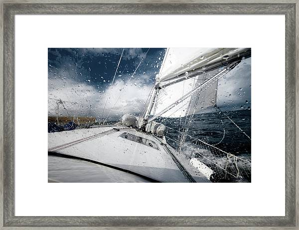 Sailing In The North Sea During A Storm Framed Print