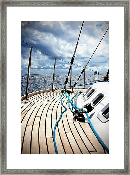 Sailing In The Wind With Sailboat Framed Print
