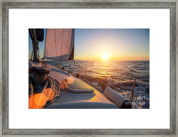 Sailing Ship Luxury Yacht Boat In The Framed Print
